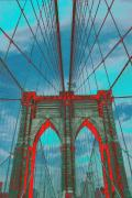 Brooklyn Bridge Prints - Brooklyn Bridge Red Shadows Print by Christopher Kirby