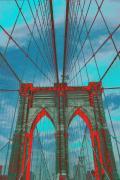 Brooklyn Bridge Red Shadows Print by Christopher Kirby