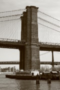 East River Photos - Brooklyn Bridge River Cafe by Christopher Kirby