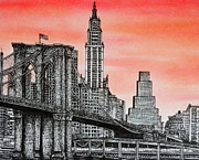 Brooklyn Bridge Drawings - Brooklyn Bridge by Rob Dumont