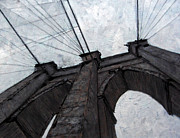Brooklyn Bridge Painting Posters - Brooklyn Bridge Poster by Romina Diaz-Brarda