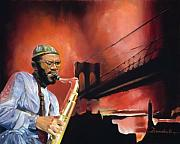 Brooklyn Bridge Painting Originals - Brooklyn Bridge Sax by Lee Goodall