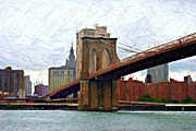 Nyc Digital Art Posters - Brooklyn Bridge Sketch Poster by Randy Aveille