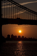 Broadway Digital Art Metal Prints - Brooklyn Bridge Sunrise Metal Print by Bill Cannon