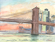 Brooklyn Bridge Painting Originals - Brooklyn Bridge Sunset September 2011 by Walter Mosley