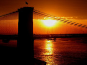 Brooklyn Bridge Posters - Brooklyn Bridge Sunset Silhouette Poster by Samuel Kessler
