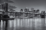 Lighted Street Framed Prints - Brooklyn Bridge Twilight II Framed Print by Clarence Holmes