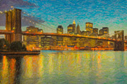 Impasto Photo Posters - Brooklyn Bridge Twilight Impasto Poster by Clarence Holmes