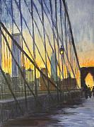 Brooklyn Bridge Painting Originals - Brooklyn Bridge Wires by Gail Eisenfeld