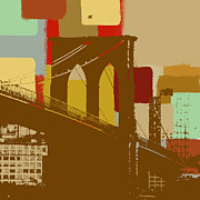 Brooklyn Bridge Mixed Media Framed Prints - Brooklyn Bridge  Framed Print by Art Yashna