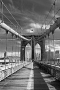 Brooklyn Bridge Posters - Brooklyn Brige BW II Poster by Chuck Kuhn