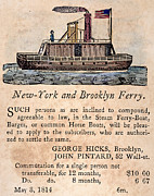 1814 Posters - Brooklyn Ferry, 1814 Poster by Granger
