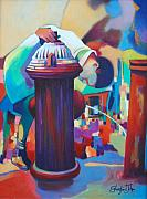 Lifestyle Painting Posters - Brooklyn  Fountain Poster by Glenford John