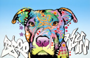 Pit Bull Mixed Media Metal Prints - Brooklyn Pit Bull 2 Metal Print by Dean Russo