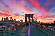 New York City Posters - Brooklyn Sunset Poster by Rick Berk
