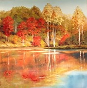 Smoky Mountains Paintings - Brooks Pond by Diana  Tyson