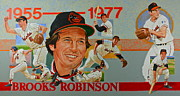 Sports Montage Posters - Brooks Robinson Poster by Cliff Spohn