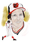 Baseball Player Painting Framed Prints - Brooks Robinson Framed Print by Steve Ramer