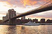 Brooklyn Bridge Posters - Broolylyn Bridge at Twilight Poster by Allan Einhorn