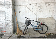 Old Street Posters - Broom and Bike Poster by Glennis Siverson