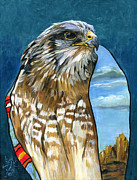 Spirit Hawk Art Framed Prints - Brother Hawk Framed Print by J W Baker