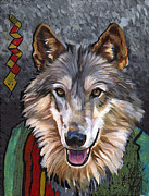 Medicine Mixed Media Prints - Brother Wolf Print by J W Baker