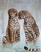 Cheetah Mixed Media Prints - Brotherly Love Print by Blaze Warrender