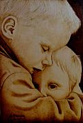 Woodburning Prints - Brotherly Love Print by Jo Schwartz