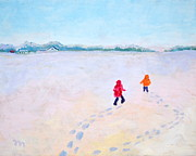 Footprints Paintings - Brothers in the Snow by Marianne Beukema