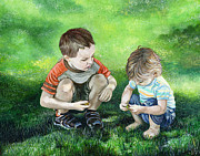 Foot Paintings - Brothers by Michelle Sheppard