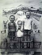 Hong Kong Drawings - Brothers by Sucheol Kong