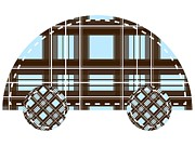 Shower Digital Art - Brown And Blue Plaid Car by Lana Sundman