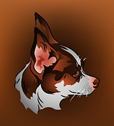 Toy Breed Prints - Brown and White Chihuahua in Profile Print by MM Anderson