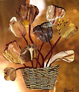 Contemporary Collage Metal Prints - Brown Arrangement Metal Print by Sarah Loft