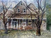 Homes Mixed Media Prints - Brown Batik House Print by Arline Wagner