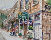 Patriotic Paintings - Brown Bear Cafe by Amy Caltry