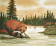 Salmon Painting Posters - Brown Bear catching Salmon Poster by Phil Hopkins