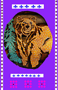 Log Cabin Art Mixed Media Prints - Brown Bear In My Cabin Print by Robert Margetts