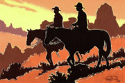 Farmington Paintings - Brown Cowboys by Randy Follis