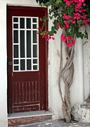Greek Classic Framed Prints - Brown Door in Greece Framed Print by Sabrina L Ryan