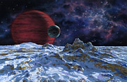 Exoplanet Painting Prints - Brown Dwarf with Planet and Moon Print by Lynette Cook