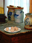 Eggs Prints - Brown Eggs and Ginger Jars Print by Susan Savad