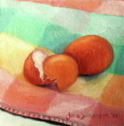 Cage Paintings - Brown Eggs by Jane  Simonson