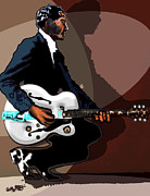 Gretsch Guitar Framed Prints - Brown Eyed Handsome Man-Chuck Berry Framed Print by David Fossaceca