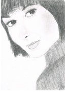 Feminine Drawings Originals - Brown eyed lady by Allison Jones