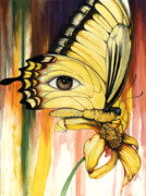 African-american Mixed Media Prints - Brown Eyes Butterfly Print by Anthony Burks
