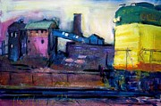 Factories Paintings - Brown Field by Les Leffingwell