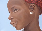 African Art Portrait Paintings - Brown Introspection by Kaaria Mucherera