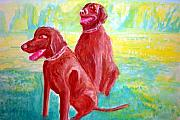 Labs Paintings - Brown Labs by Stanley Morganstein