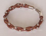 Woven Jewelry Originals - Brown Leather and Steel Wrist Band by Robin Copper